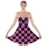 CIRCLES2 BLACK MARBLE & PINK BRUSHED METAL Strapless Bra Top Dress