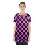 CIRCLES2 BLACK MARBLE & PINK BRUSHED METAL Skirt Hem Sports Top