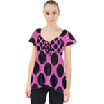 CIRCLES2 BLACK MARBLE & PINK BRUSHED METAL Lace Front Dolly Top
