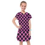 CIRCLES2 BLACK MARBLE & PINK BRUSHED METAL Kids  Drop Waist Dress