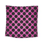 CIRCLES2 BLACK MARBLE & PINK BRUSHED METAL Square Tapestry (Small)
