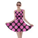 CIRCLES2 BLACK MARBLE & PINK BRUSHED METAL (R) Skater Dress