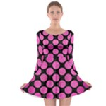 CIRCLES2 BLACK MARBLE & PINK BRUSHED METAL (R) Long Sleeve Skater Dress