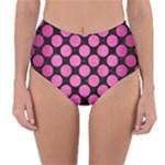 CIRCLES2 BLACK MARBLE & PINK BRUSHED METAL (R) Reversible High-Waist Bikini Bottoms