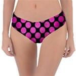 CIRCLES2 BLACK MARBLE & PINK BRUSHED METAL (R) Reversible Classic Bikini Bottoms