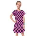 CIRCLES2 BLACK MARBLE & PINK BRUSHED METAL (R) Kids  Drop Waist Dress