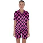 CIRCLES2 BLACK MARBLE & PINK BRUSHED METAL (R) Satin Short Sleeve Pyjamas Set