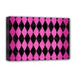 DIAMOND1 BLACK MARBLE & PINK BRUSHED METAL Deluxe Canvas 18  x 12