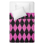 DIAMOND1 BLACK MARBLE & PINK BRUSHED METAL Duvet Cover Double Side (Single Size)