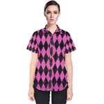 DIAMOND1 BLACK MARBLE & PINK BRUSHED METAL Women s Short Sleeve Shirt