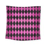DIAMOND1 BLACK MARBLE & PINK BRUSHED METAL Square Tapestry (Small)