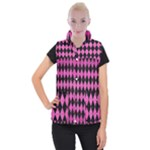 DIAMOND1 BLACK MARBLE & PINK BRUSHED METAL Women s Button Up Puffer Vest