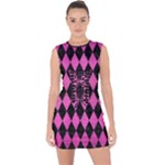 DIAMOND1 BLACK MARBLE & PINK BRUSHED METAL Lace Up Front Bodycon Dress