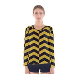 Chevron2 Black Marble & Yellow Denim Women s Long Sleeve Tee by trendistuff