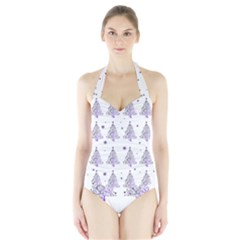 Christmas Tree   Pattern Halter Swimsuit by Valentinaart