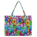 Flowers Ornament Decoration Zipper Medium Tote Bag