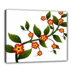 Flower Branch Nature Leaves Plant Canvas 20  x 16