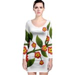 Flower Branch Nature Leaves Plant Long Sleeve Bodycon Dress