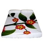 Flower Branch Nature Leaves Plant Fitted Sheet (Queen Size)