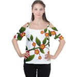 Flower Branch Nature Leaves Plant Cutout Shoulder Tee