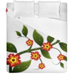 Flower Branch Nature Leaves Plant Duvet Cover Double Side (California King Size)