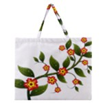 Flower Branch Nature Leaves Plant Zipper Large Tote Bag