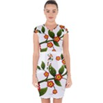 Flower Branch Nature Leaves Plant Capsleeve Drawstring Dress