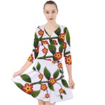 Flower Branch Nature Leaves Plant Quarter Sleeve Front Wrap Dress