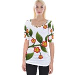 Flower Branch Nature Leaves Plant Wide Neckline Tee