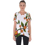Flower Branch Nature Leaves Plant Cut Out Side Drop Tee