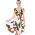 Flower Branch Nature Leaves Plant Cap Sleeve Front Wrap Midi Dress