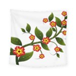 Flower Branch Nature Leaves Plant Square Tapestry (Small)