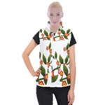 Flower Branch Nature Leaves Plant Women s Button Up Puffer Vest
