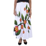 Flower Branch Nature Leaves Plant Flared Maxi Skirt