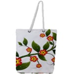 Flower Branch Nature Leaves Plant Full Print Rope Handle Tote (Large)