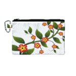 Flower Branch Nature Leaves Plant Canvas Cosmetic Bag (Medium)
