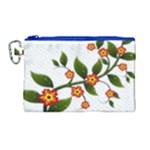 Flower Branch Nature Leaves Plant Canvas Cosmetic Bag (Large)