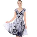 Lion Wildlife Art And Illustration Pencil Cap Sleeve Front Wrap Midi Dress