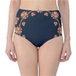 Floral Vintage Royal Frame Pattern High-Waist Bikini Bottoms