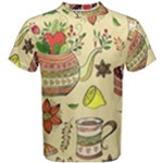 Colored Afternoon Tea Pattern Men s Cotton Tee