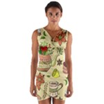 Colored Afternoon Tea Pattern Wrap Front Bodycon Dress