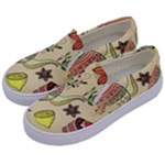 Colored Afternoon Tea Pattern Kids  Canvas Slip Ons