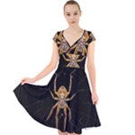Insect Macro Spider Colombia Cap Sleeve Front Wrap Midi Dress