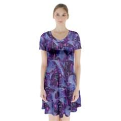 Techno Grunge Punk Short Sleeve V Neck Flare Dress by KirstenStar