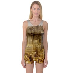 New York Empire State Building One Piece Boyleg Swimsuit by Celenk
