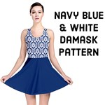 Navy Blue Damask Pattern