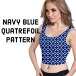 Navy Blue Quatrefoil Pattern