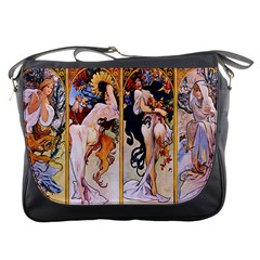 Four Seasons by Alphonse Mucha 1895 Messenger Bag from Manda s Macabre Front