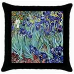 Irises by Vincent van Gogh 1898 Throw Pillow Case (Black)