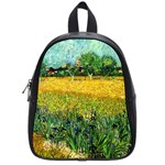 View Of Arles With Irises In The Foreground By Vincent Van Gogh 1888  School Bag (Small)